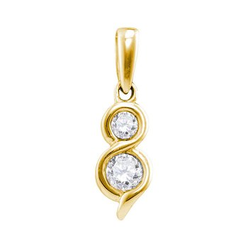 14kt Yellow Gold Womens Round Diamond 2-stone Hearts Together Pendant 1/4 Cttw