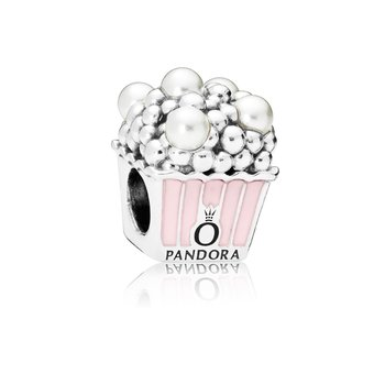 Delicious Popcorn Charm, Pale Pink Enamel White Crystal Pearls