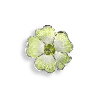 Green Floral Brooch-Pendant.Sterling Silver-Peridot
