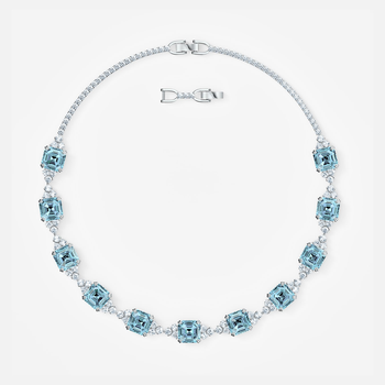 Sparkling Necklace, Aqua, Rhodium plated