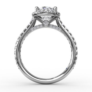 Oval Diamond Halo Engagement Ring With Diamond Band