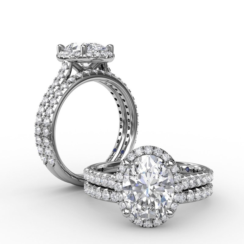 Fana Oval Diamond Halo Engagement Ring With Diamond Band