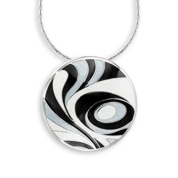 Black and White Abstract Necklace.Sterling Silver