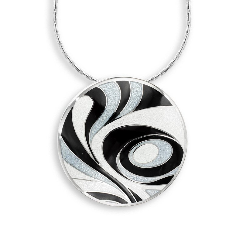 Nicole Barr Designs Black and White Abstract Necklace.Sterling Silver