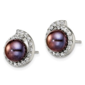 Sterling Silver w/CZ 8-9mm FW Cultured Button Black Pearl Post Ear