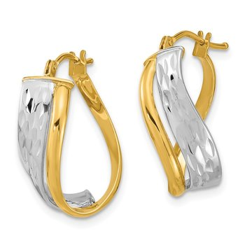 14k Two-Tone Diamond-cut and Polished Earrings