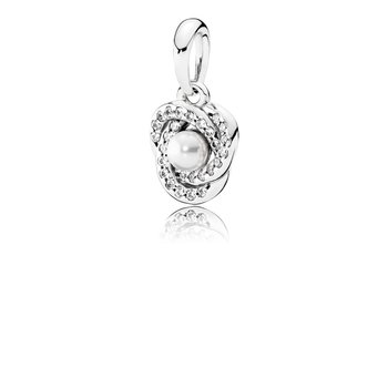 Luminous Love Knot, White Crystal Pearl & Clear CZ