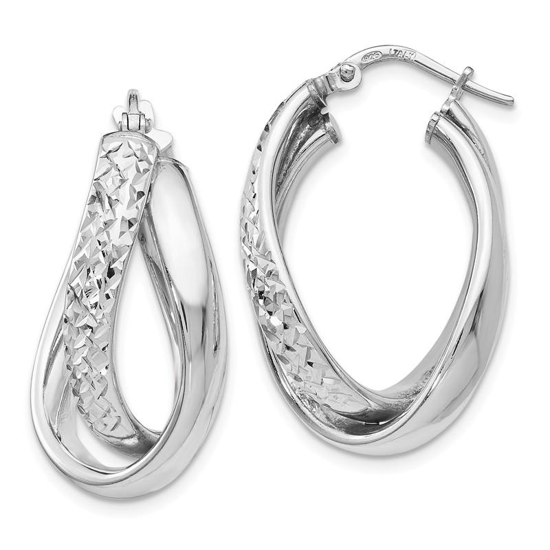 Leslies Real 14kt White Polished /& Textured Fancy Hoop Earrings