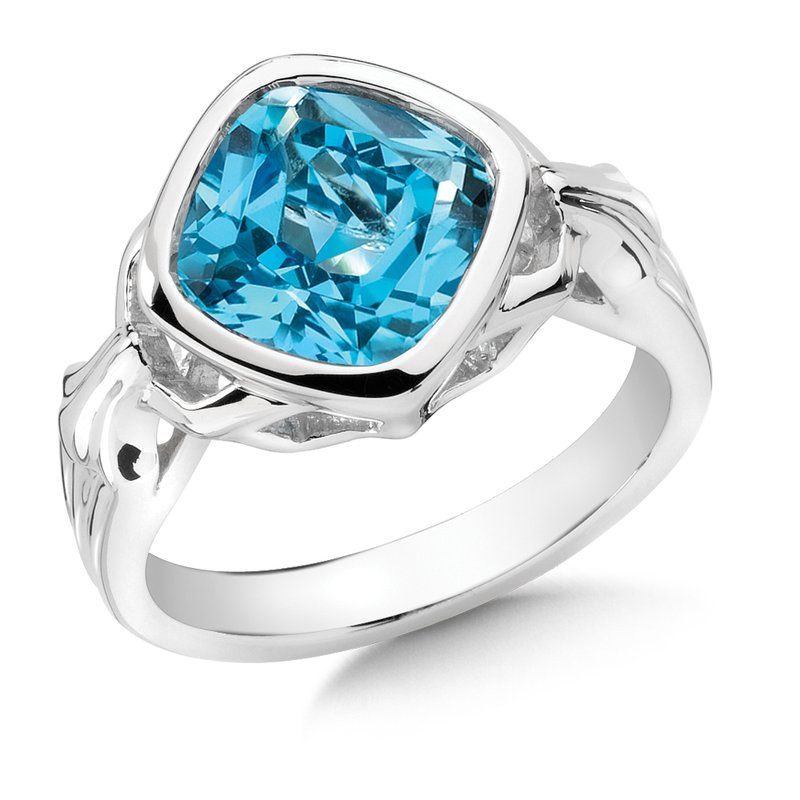 Colore Sg Sterling Silver Blue Topaz Fleur De Lis Ring