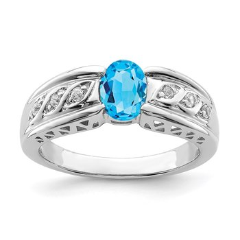 Sterling Silver Rhodium Swiss Blue & White topaz Ring
