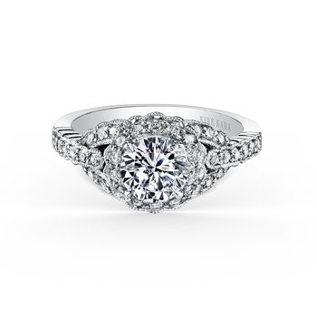 Milgrain Lace Halo Diamond Engagement Ring