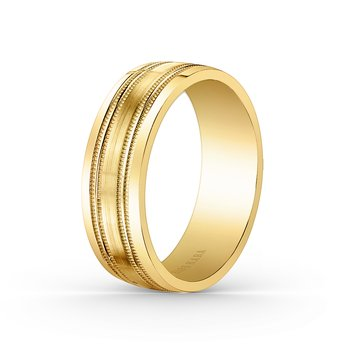 Milgrain Mens Precision Wedding Band 7mm