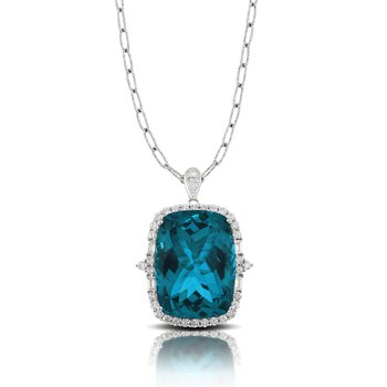 London Blue Diamond Halo Pendant 18KW