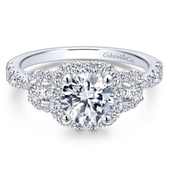 Three Stone Halo Engagement Ring