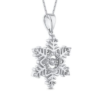 1/5 ct White Diamond Snowflake Pendant with Chain