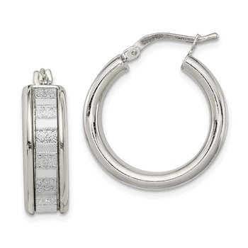 Sterling Silver with Glitter Hinged Hoop Earrings
