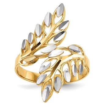 14k w/ White Rhodium Diamond-cut Leaves Ring
