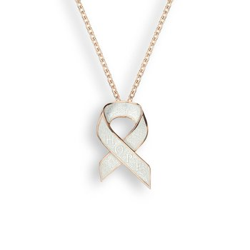 White Hope Ribbon Necklace.Rose Gold Plated Sterling Silver