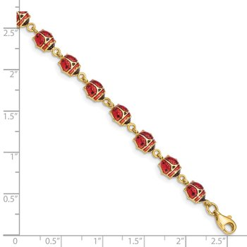 14K Enamel and Resin Ladybug Bracelet