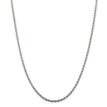 Sterling Silver Rhodium-plated 2.25mm Diamond-cut Rope Chain