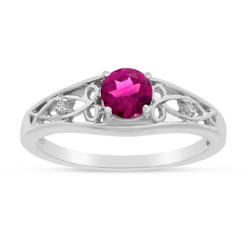 14k White Gold Round Pink Topaz And Diamond Ring