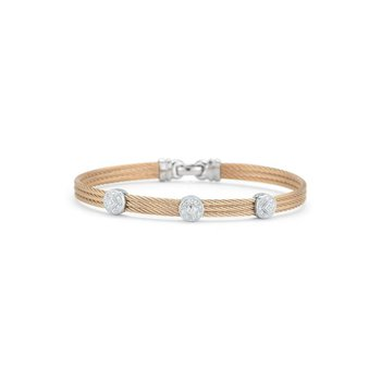Rose Cable Classic Stackable Bracelet with Triple Round Station set in 18kt White Gold