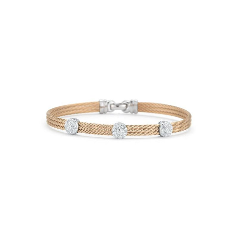 ALOR Rose Cable Classic Stackable Bracelet with Triple Round Station set in 18kt White Gold