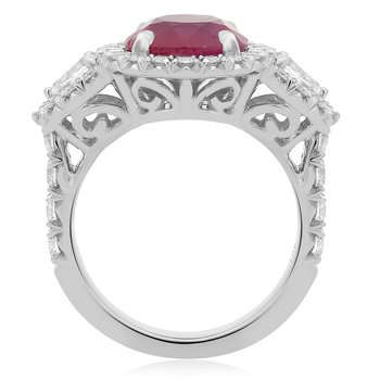 Round Ruby Side Stone Ring