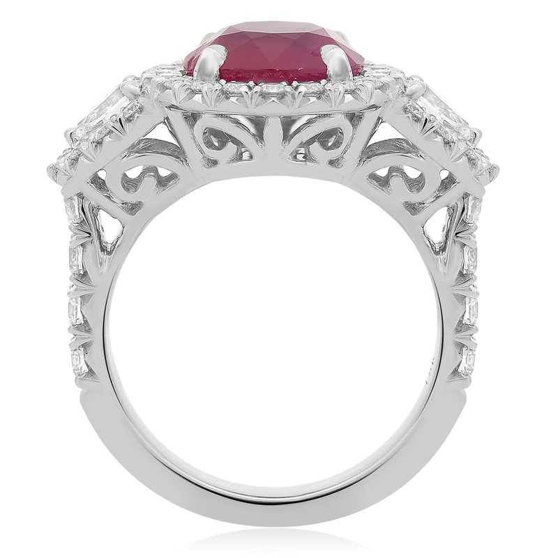 Roman & Jules Round Ruby Side Stone Ring