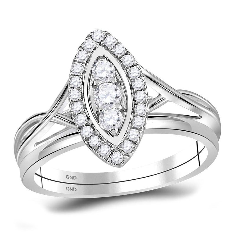 Gold-N-Diamonds, Inc. (Atlanta) 10kt White Gold Womens Round Diamond Oval Cluster Bridal Wedding Engagement Ring 1/3 Cttw