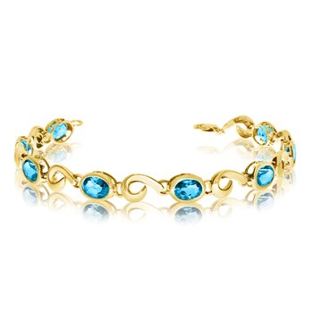 14K Yellow Gold Oval Blue Topaz Bracelet