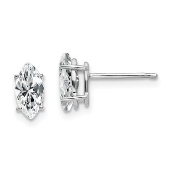 14k White Gold 8x4mm Marquise Cubic Zirconia earring