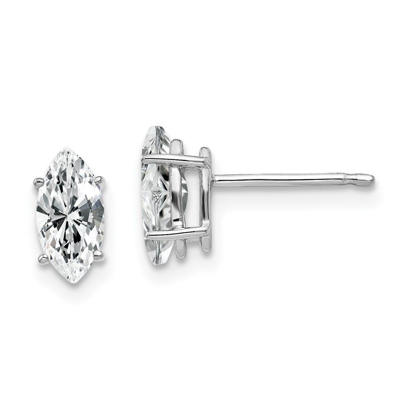 Quality Gold 14k White Gold 8x4mm Marquise Cubic Zirconia earring