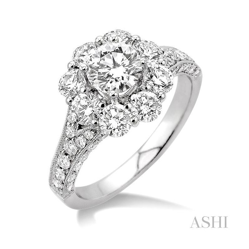 ASHI flower shape semi-mount diamond engagement ring