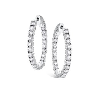 Diamond Inside Outside Hoops in 14k White Gold with 44 Diamonds weighing 1.76ct tw