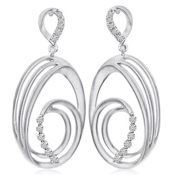 14K White Gold Oval Satin Drop Diamond Earrings