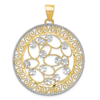 14k White Rhodium Diamond-cut Filigree Pendant