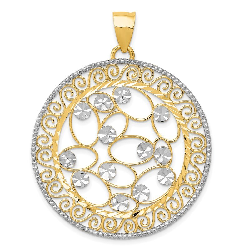 Quality Gold 14k White Rhodium Diamond-cut Filigree Pendant