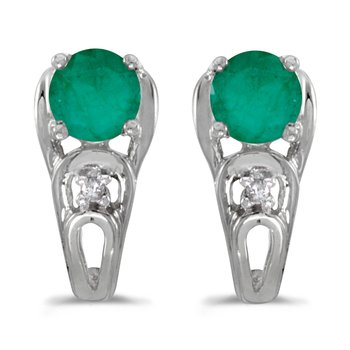 14k White Gold Round Emerald And Diamond Earrings