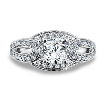 Diamond Engagement Ring Mounting in 14K White Gold with Platinum Head (.50 ct. tw.)