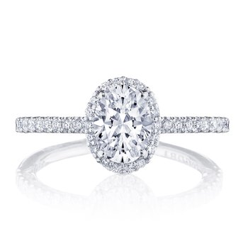 Petite Crescent Oval Platinum Engagement Ring