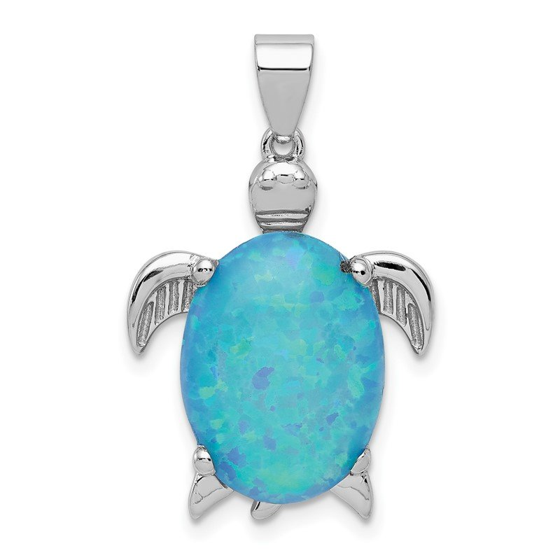 Quality Gold Sterling Silver Created Opal Inlay Sea Turtle Pendant