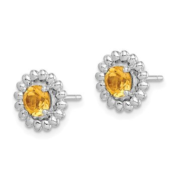 Sterling Silver Rhod-plat Citrine Earrings