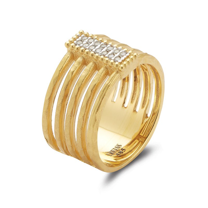 I. Reiss 14K-Y REC. MOTIF CUT-OUT RING, 0.10CT