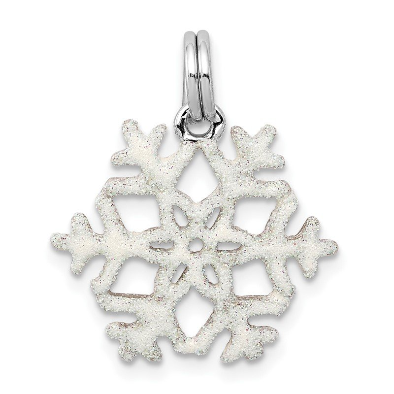 Quality Gold Sterling Silver Rhodium-platedEnameled Snowflake Charm