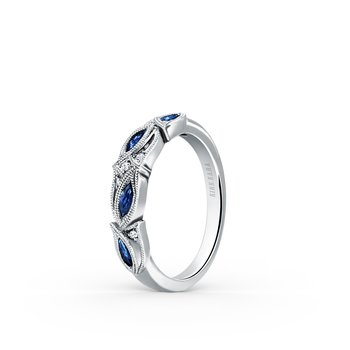 Blue Sapphire Floral Diamond Engagement Ring