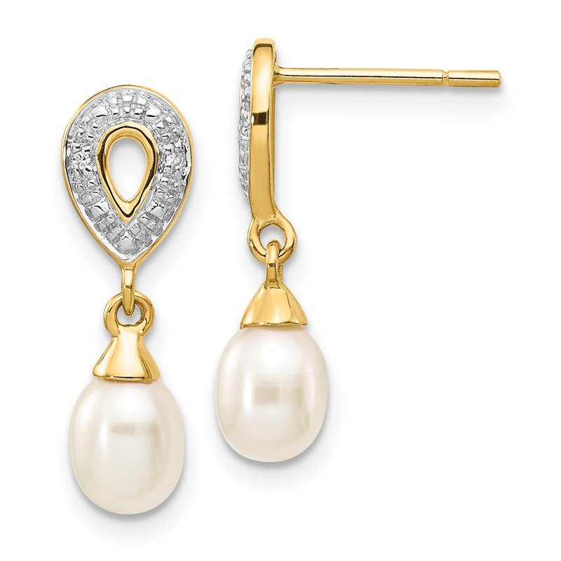 Quality Gold 14k 7x5mm White Teardrop FWC Pearl .01ct Diamond Dangle Earrings