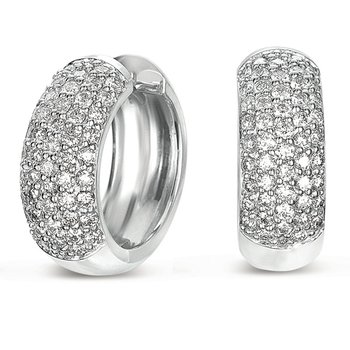 White Gold Huggie Pave Earring