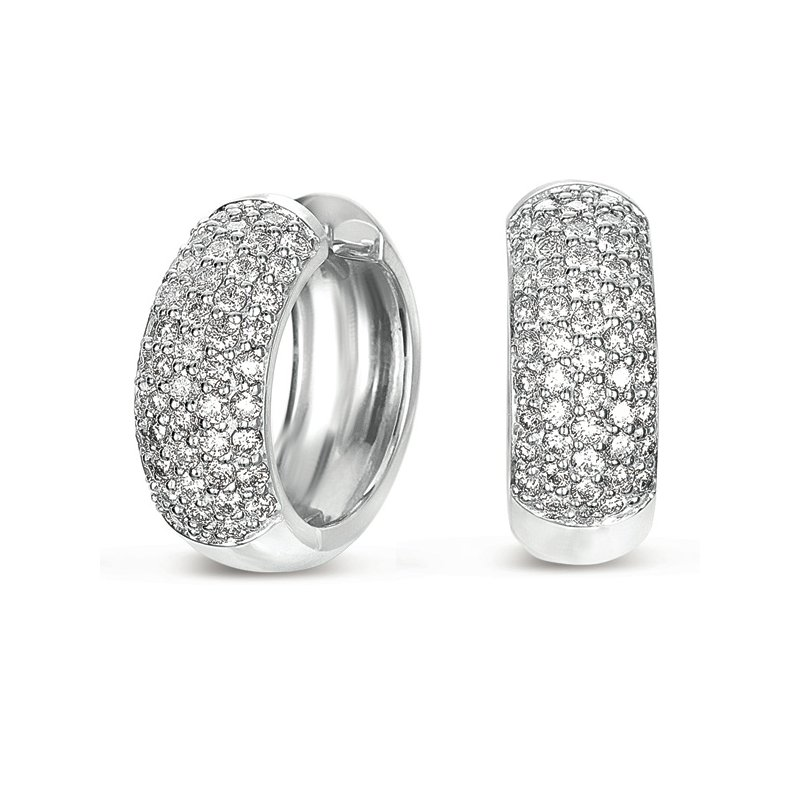 S. Kashi  & Sons White Gold Huggie Pave Earring
