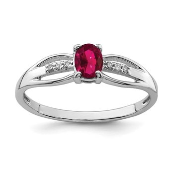 Sterling Silver Rhod-plated Diamond Created Ruby Ring